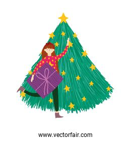 merry christmas woman with sweater and gift box tree stars