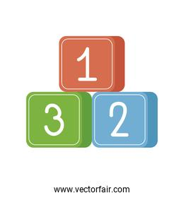 numbers blocks cute baby toy isolated icon