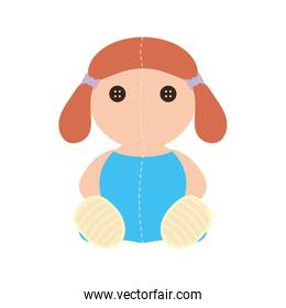cute doll baby toy isolated icon