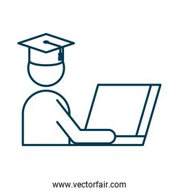 student graduated with hat using laptop