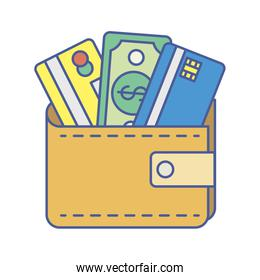 wallet with bills and credit cards money dollars