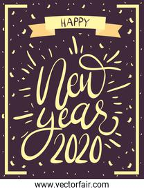 happy new year 2020 golden lettering