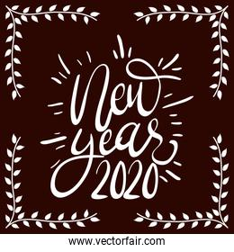 happy new year 2020 lettering square frame
