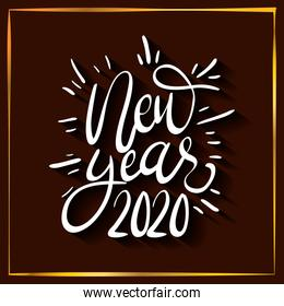 happy new year 2020 lettering celebration