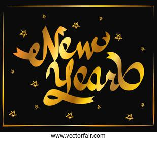 happy new year golden lettering