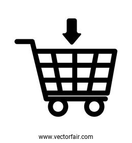 shopping cart commerce with arrow down