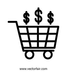 shopping cart commerce with money symbol