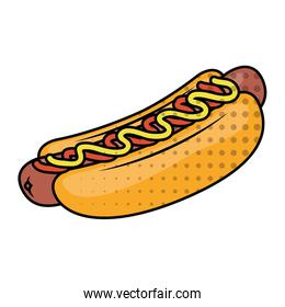 delicious hot dog fast food dotted