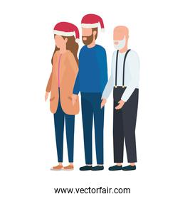 cute grandfather with young couple using christmas hat