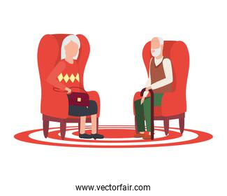 cute grand parents seated in sofas avatars characters