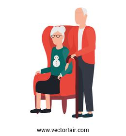 grandfather and grandmother seated in sofa avatars characters