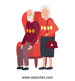 grandmother and grandfather seated in sofa avatars characters