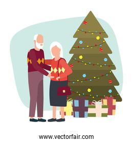 cute grand parents with christmas dcecoration