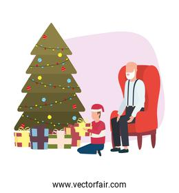 cute grandfather and grandson with christmas decoration