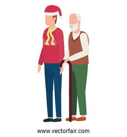 cute grandfather with young son using christmas hat