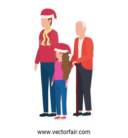 cute grandfather with young son and granddaughter using christmas hat