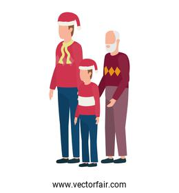 cute grandfather with young son and grandson using christmas hat