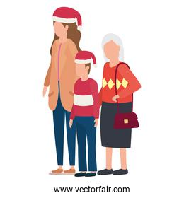 grandmother with daughter and grandson using christmas hat
