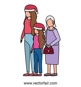 grandmother with daughter and grandaughter using christmas hat