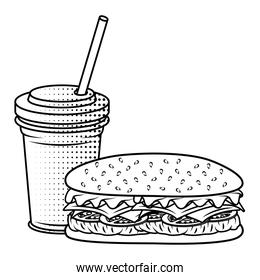 delicious burger with soda fast food icon