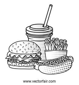 delicious fast food with soda and french fries