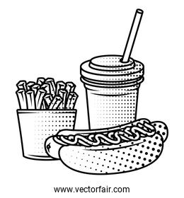 delicious hot dog with soda and french fries