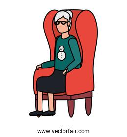 cute grandmother seated in sofa character