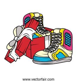 gift with tennis sport shoes pop art style