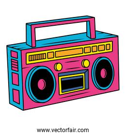 retro radio music player pop art style