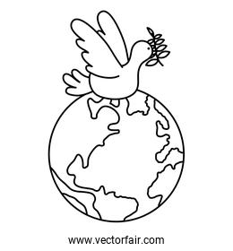 dove flying with olive branch and world planet