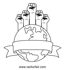 interracial hands fist with world planet earth