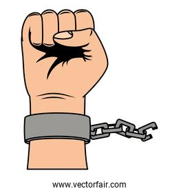 hand human fist with chain icon