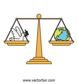 dove flying with olive branch and world planet in balance