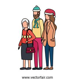 cute grandmother with young couple using christmas hat