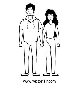 young lovers couple avatars characters