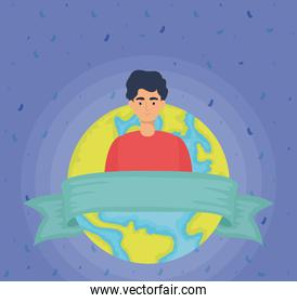 young man with world planet character