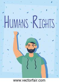 young man with human rights label character