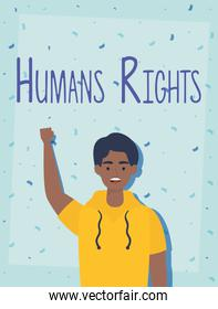 afro young man with human rights label character