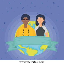 young interracial couple with earth planet
