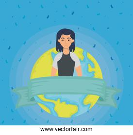 young woman with earth planet character