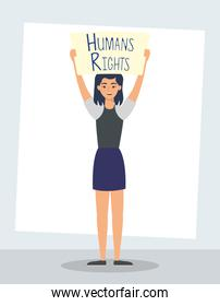 young woman with human rights label character