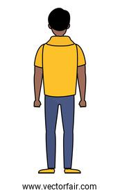 afro young man back avatar character