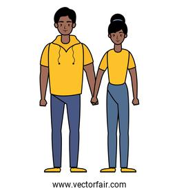 young afro couple avatars characters