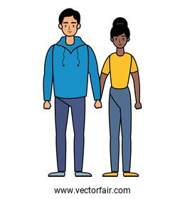 young interracial couple avatars characters