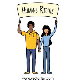 young interracial couple with human rights label