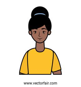 afro young woman avatar character