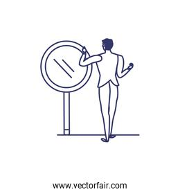 silhouette of man with magnifying glass in white background