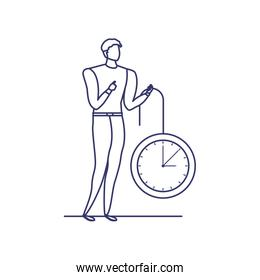 silhouette of man with clock in white background