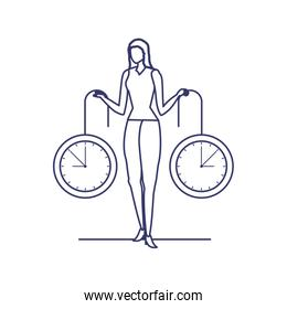 silhouette of woman with clock in white background