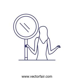 silhouette of woman with magnifying glass in white background